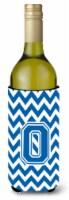 Letter O Chevron Blue and White Wine Bottle Beverage Insulator Hugger - 750 ml