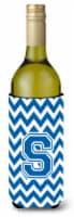 Letter S Chevron Blue and White Wine Bottle Beverage Insulator Hugger - 750 ml