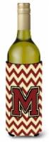 Letter M Chevron Maroon and Gold Wine Bottle Beverage Insulator Hugger - 750 ml