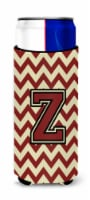Letter Z Chevron  Maroon and Gold Ultra Beverage Insulators for slim cans