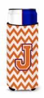 Letter J Chevron Orange and Regalia Ultra Beverage Insulators for slim cans - Slim Can