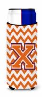 Letter X Chevron Orange and Regalia Ultra Beverage Insulators for slim cans - Slim Can