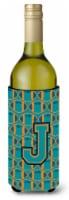 Letter J Football Aqua, Orange and Marine Blue Wine Bottle Beverage Insulator Hu - 750 ml