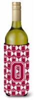 Letter O Football Crimson, grey and white Wine Bottle Beverage Insulator Hugger - 750 ml