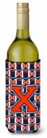 Letter X Football Orange, Blue and white Wine Bottle Beverage Insulator Hugger
