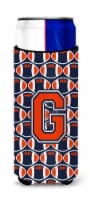 Letter G Football Orange, Blue and white Ultra Beverage Insulators for slim cans - Slim Can
