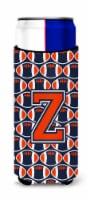 Letter Z Football Orange, Blue and white Ultra Beverage Insulators for slim cans
