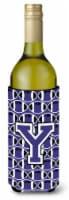 Letter Y Football Purple and White Wine Bottle Beverage Insulator Hugger - 750 ml
