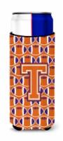 Letter T Football Orange, White and Regalia Ultra Beverage Insulators for slim c - Slim Can