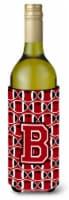 Letter B Football Red, Black and White Wine Bottle Beverage Insulator Hugger - 750 ml
