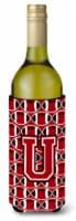 Letter U Football Red, Black and White Wine Bottle Beverage Insulator Hugger