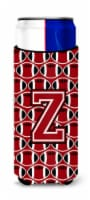 Letter Z Football Red, Black and White Ultra Beverage Insulators for slim cans - Slim Can