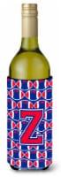 Letter Z Football Crimson and Yale Blue Wine Bottle Beverage Insulator Hugger - 750 ml