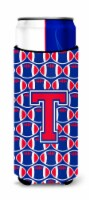 Letter T Football Crimson and Yale Blue Ultra Beverage Insulators for slim cans - Slim Can