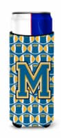Letter M Football Blue and Gold Ultra Beverage Insulators for slim cans - Slim Can