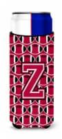 Letter Z Football Crimson and White Ultra Beverage Insulators for slim cans