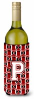 Letter P Football Cardinal and White Wine Bottle Beverage Insulator Hugger - 750 ml