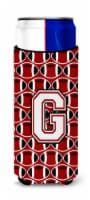 Letter G Football Cardinal and White Ultra Beverage Insulators for slim cans - Slim Can