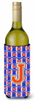 Letter J Football Green, Blue and Orange Wine Bottle Beverage Insulator Hugger - 750 ml
