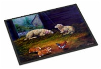 Corgi Chaos in the barn with sheep Indoor or Outdoor Mat 18x27
