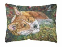 Corgi Pastel Hummingbird Fabric Decorative Pillow