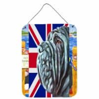 Neapolitan Mastiff with English Union Jack British Flag Wall or Door Hanging Pri - 16HX12W