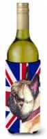 French Bulldog Frenchie with English Union Jack British Flag Wine Bottle Beverag - 750 ml