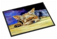 Carolines Treasures  7357JMAT Yorkie Taking a Nap Indoor or Outdoor Mat 24x36 - 24Hx36W