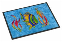Troical Fish and Seaweed on Blue Indoor or Outdoor Mat 24x36