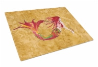 Ginger Red Headed Mermaid on Gold Glass Cutting Board Large - 12Hx15W