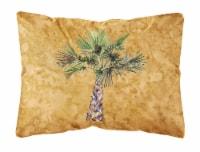 Palm Tree on Gold Canvas Fabric Decorative Pillow - 12Hx16W