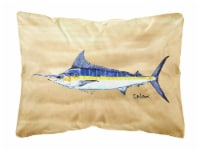 Swordfish on Sandy Beach Canvas Fabric Decorative Pillow - 12Hx16W