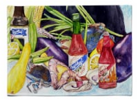 Carolines Treasures  8637PLMT Crystal Hot Sauce with Seafood Fabric Placemat - Large