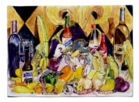Crystal Hot Sauce with Fleur De lis and Wine Fabric Placemat - Large