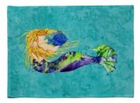 Carolines Treasures  8724PLMT Blonde Mermaid on Teal Fabric Placemat