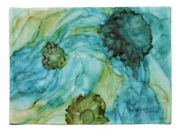 Carolines Treasures  8952PLMT Abstract in Teal Flowers Fabric Placemat