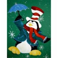Just Dropping In To Say Hello Christmas Penguin  Flag Canvas House Size - House Size
