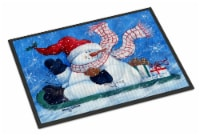 Come Ride With Me Snowman Indoor or Outdoor Mat 18x27 - 18Hx27W