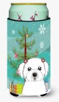 Christmas Tree and Maltese Tall Boy Beverage Insulator Hugger - Tall Boy