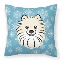 Carolines Treasures  BB1641PW1414 Snowflake Pomeranian Fabric Decorative Pillow