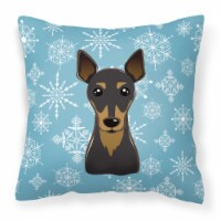 Carolines Treasures  BB1674PW1414 Snowflake Min Pin Fabric Decorative Pillow