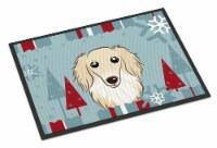 Winter Holiday Longhair Creme Dachshund Indoor or Outdoor Mat 24x36