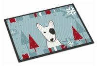 Winter Holiday Bull Terrier Indoor or Outdoor Mat 18x27
