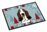 Winter Holiday Basset Hound Indoor or Outdoor Mat 18x27