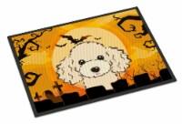 Carolines Treasures  BB1816MAT Halloween Buff Poodle Indoor or Outdoor Mat 18x27