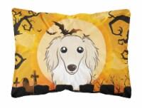 Halloween Longhair Creme Dachshund Fabric Decorative Pillow