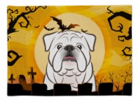 Carolines Treasures  BB1778PLMT Halloween White English Bulldog  Fabric Placemat