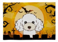 Carolines Treasures  BB1815PLMT Halloween White Poodle Fabric Placemat