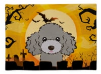 Carolines Treasures  BB1817PLMT Halloween Silver Gray Poodle Fabric Placemat