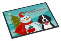 Snowman with Bernese Mountain Dog Indoor or Outdoor Mat 24x36